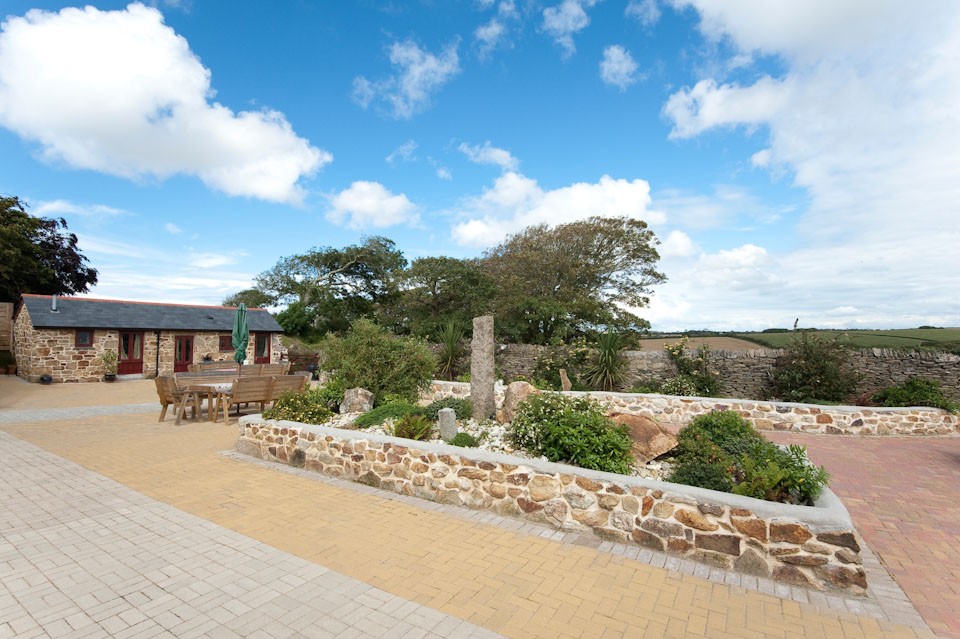 View from Barn Owl of courtyard and seating area